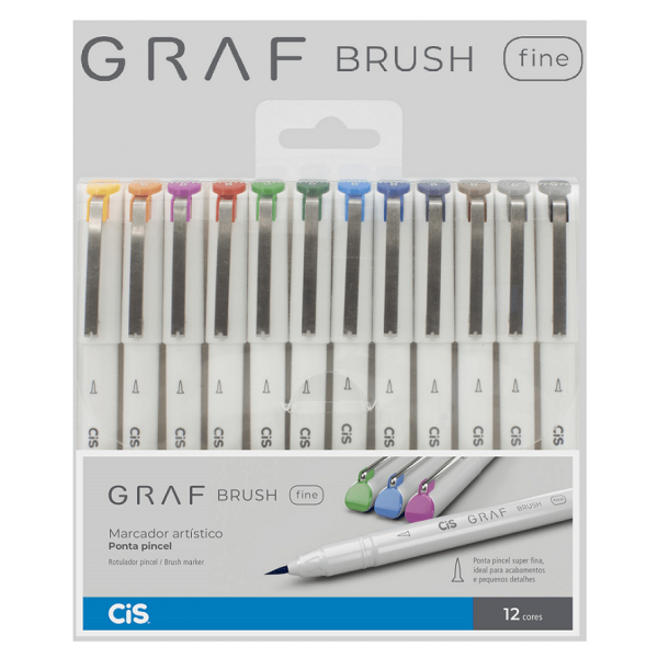 Brush Pen Fine Graf 12 Cores - Cis