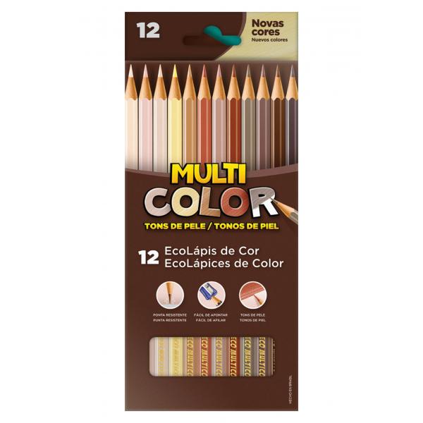Lápis De Cor Tons De Pele - 12 Cores - Multicolor