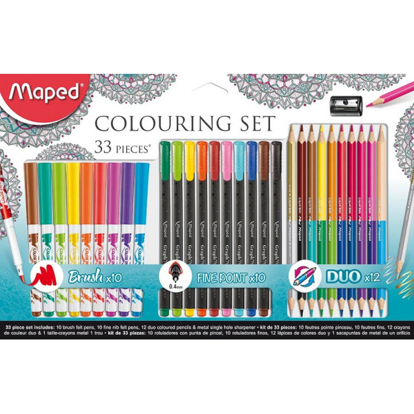 Kit 33 Peças Maped Brush Pen - Fine Pen - Lápis ...