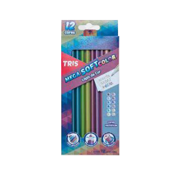 Lápis de Cor Metálico 12 Cores - Tris