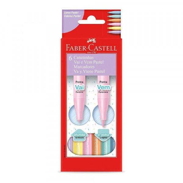 Caneta Hidrocor Vai e Vem Pastel Faber-Castell 6 C...