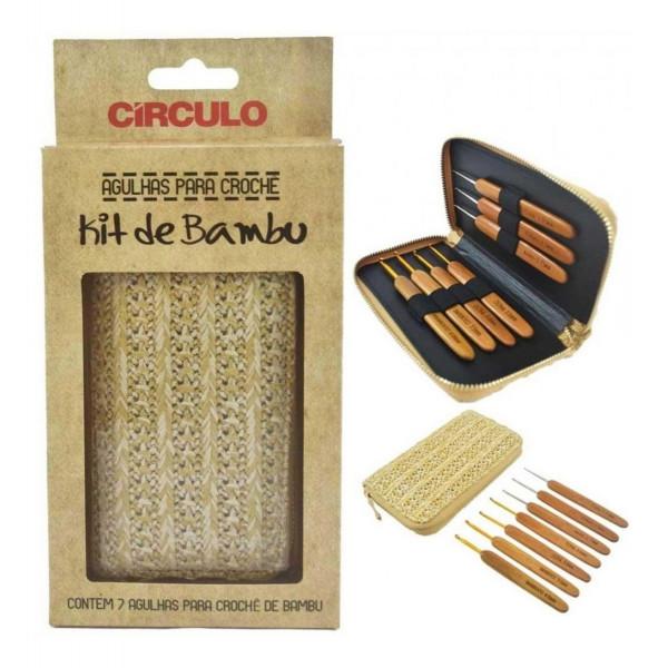 Kit 7 Agulhas De Crochê Bambu Com Case - Círculo...