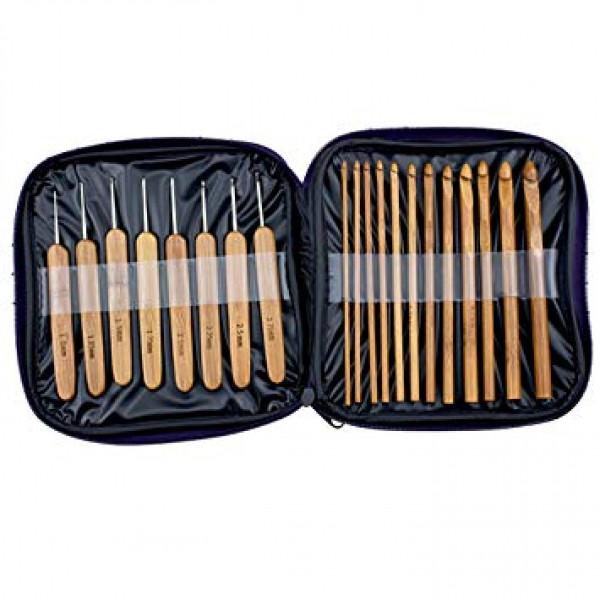 Kit 20 Agulhas Crochê Cabo Bambu Com Case