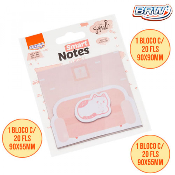 Bloco Adesivo Smart Notes Layers Gato - Brw