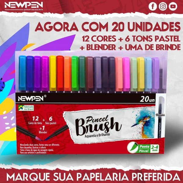 Brush Pen Newpen Blender - 20 Unidades