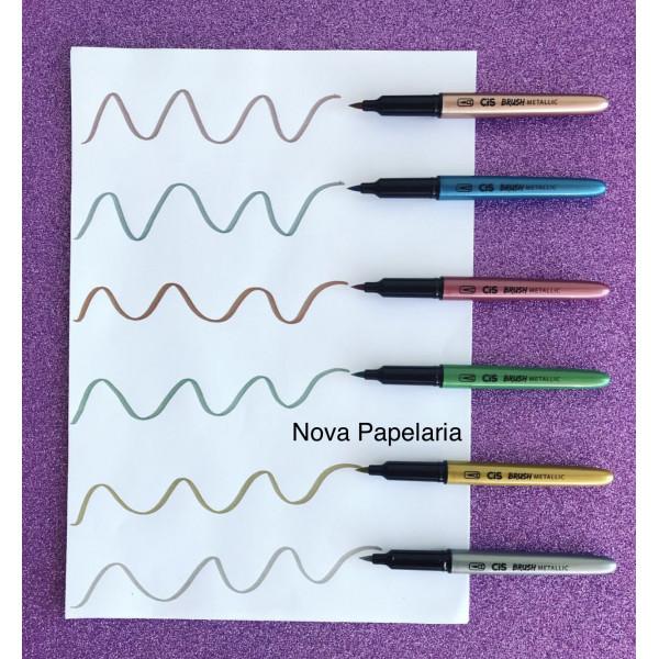 Brush Pen Metálica Cis - 6 Cores