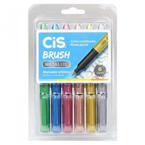 Brush Pen Metálica Cis - 6 Cores