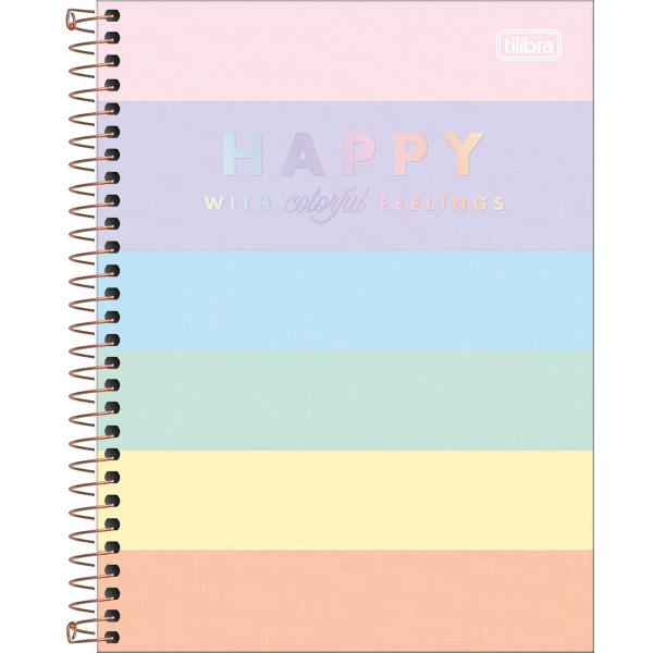 Caderno Happy Colorido Colegial 1 Matéria - Tilib...