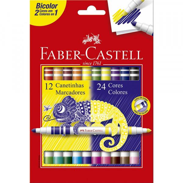 Caneta Hidrocor Bicolor Faber Castell 12-24 Cores