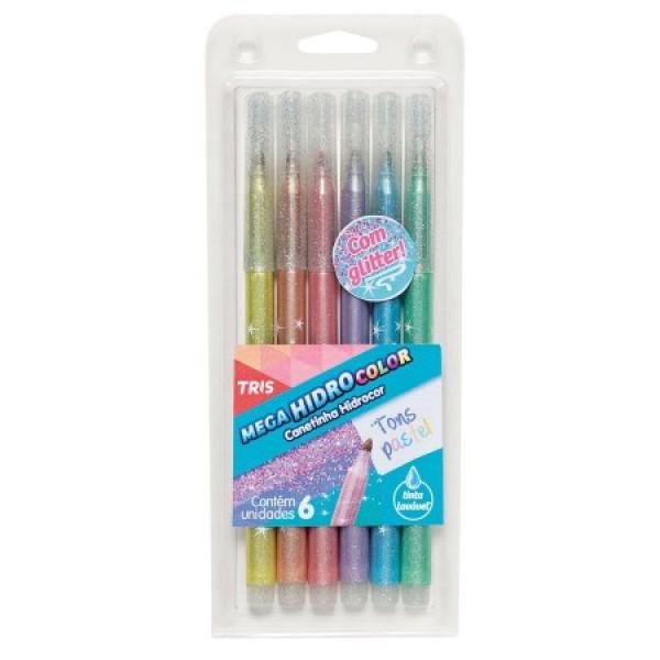 Caneta Hidrocor Pastel Glitter 6 Cores - Tris