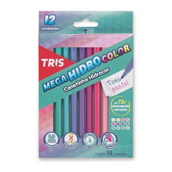 Caneta Hidrocor Pastel 12 Cores - Tris