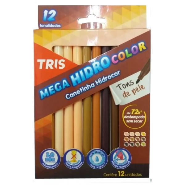 Caneta Hidrocor Tons de Pele 12 Cores - Tris
