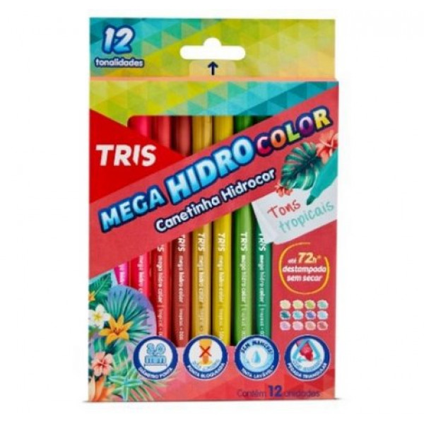 Caneta Hidrocor Tropical 12 Cores - Tris