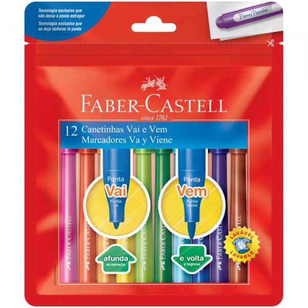 Caneta Hidrocor Vai e Vem Faber Castell  12 Cores