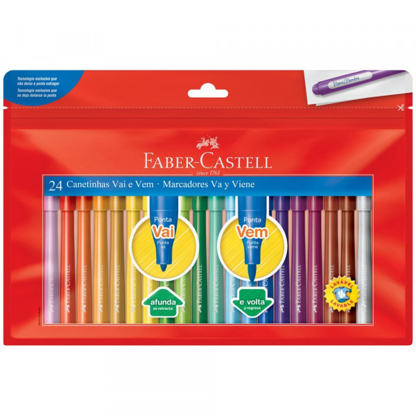 Caneta Hidrocor Vai e Vem Faber Castell  24 Cores