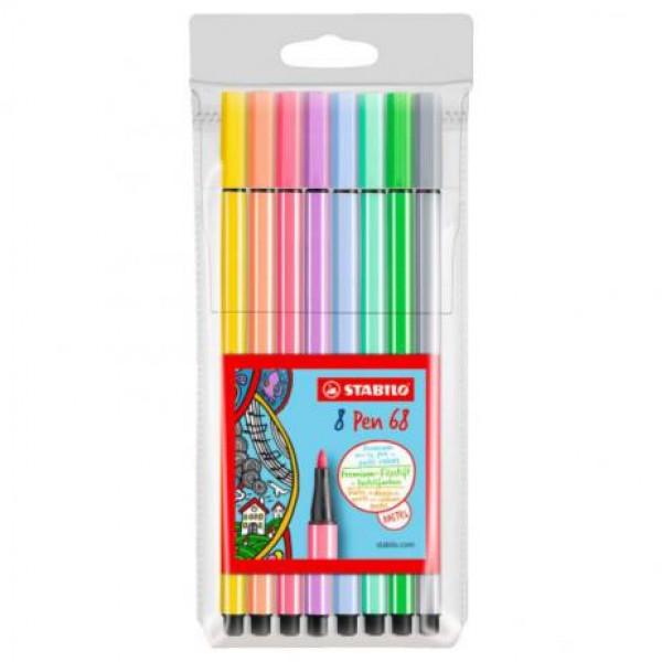 Caneta Stabilo Pen 68 Pastel - Estojo 8 Cores