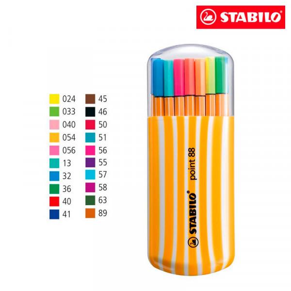 Caneta Stabilo Point 88 Zebrui - 15 Cores + 5 Neon