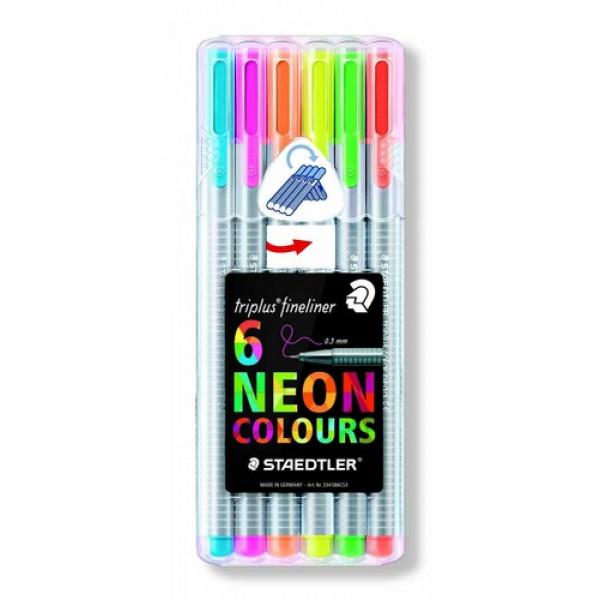 Caneta Staedtler Triplus Fineliner Neon 6 Cores