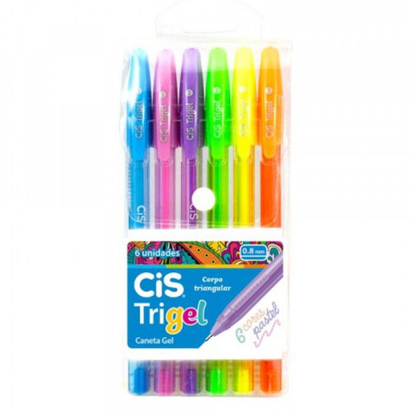 Caneta Gel Trigel Pastel 6 Cores - Cis