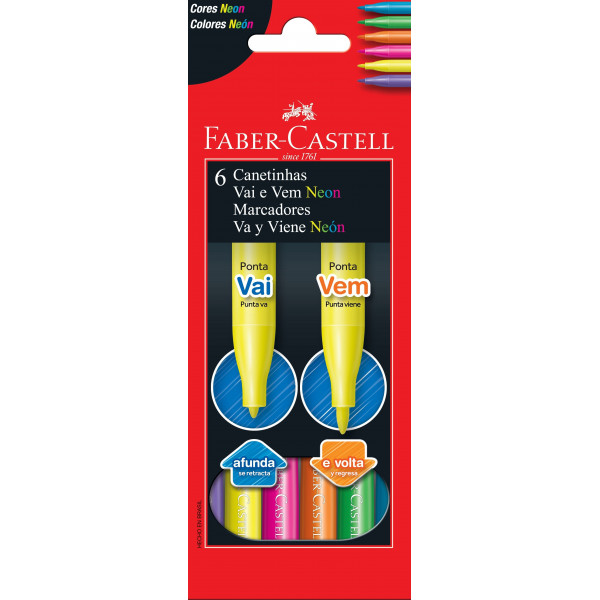 Caneta Hidrocor Vai e Vem Neon Faber-Castell 6 Cor...