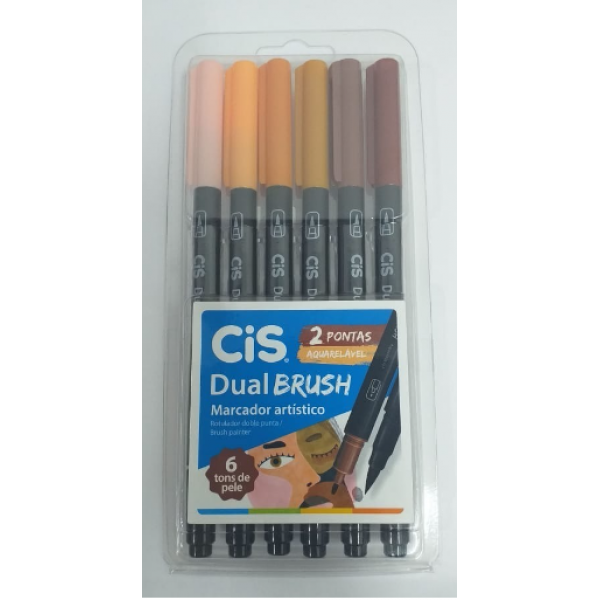 Brush Pen Tons De Pele Dual Cis - 6 Cores