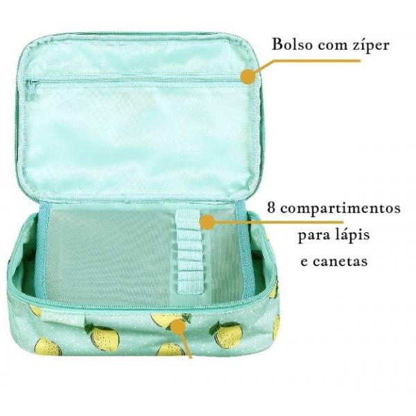 Mochila De Costas Capricho Limão + Estojo Box Limão Capricho - Dmw