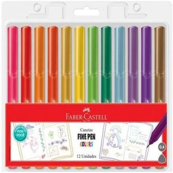 Caneta Fine Pen Colors Faber Castell - 12 Cores