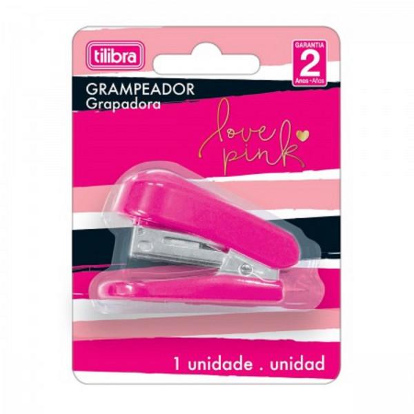 Grampeador Mini Love Pink + 1.000 Grampos - Tilibra