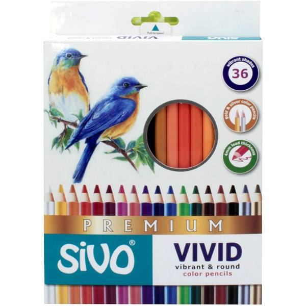 Lápis de Cor 36 Cores Premium - Sivo