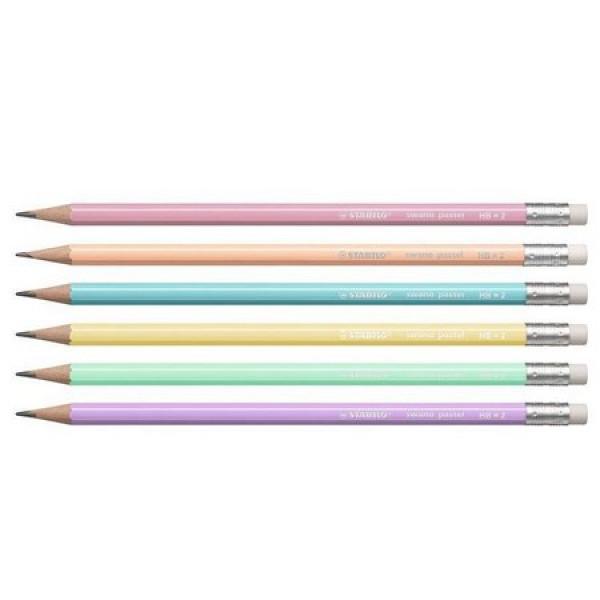 Lápis Preto Stabilo Swano Pastel - Kit 6 Unidades...