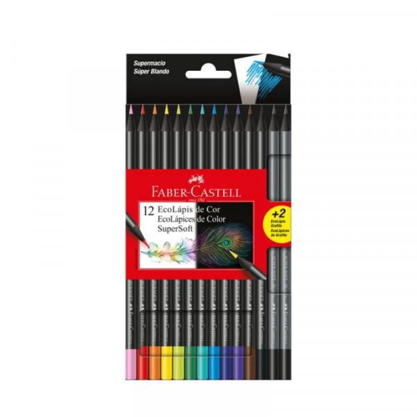 Lápis de Cor Faber-Castell Supersoft Com 12 Cores