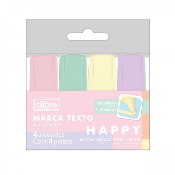 Marca Texto Mini Happy 4 Cores - Tilibra