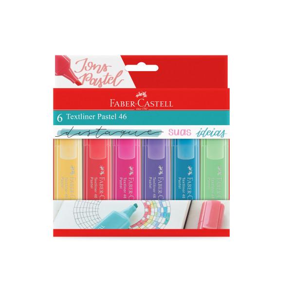 Marca Texto Textliner 46 Pastel 6 Cores - Faber Ca...