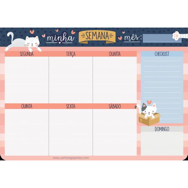 Planner Semanal Cats - Cartões Gigantes