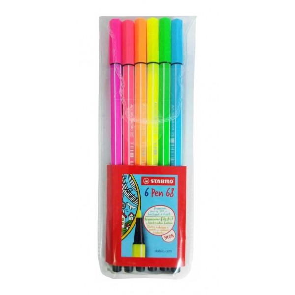 Caneta Stabilo Pen 68 Neon Estojo 6 Cores