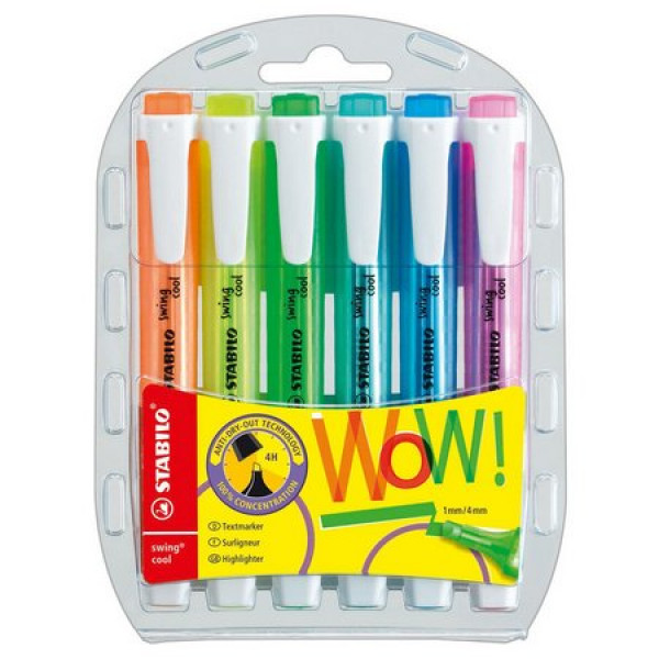Marca Texto Stabilo Swing Cool Neon - Kit 6 Cores