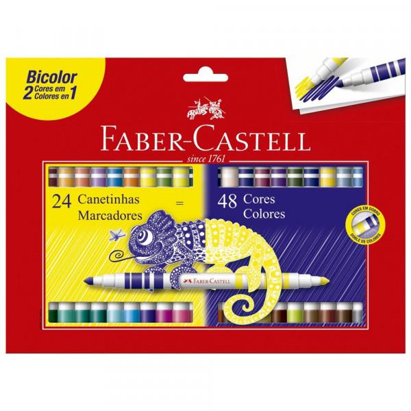 Caneta Hidrocor Bicolor Faber Castell 24 - 48 Core...