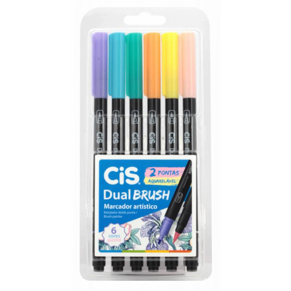 Brush Pen Pastel Dual Cis - 6 Cores