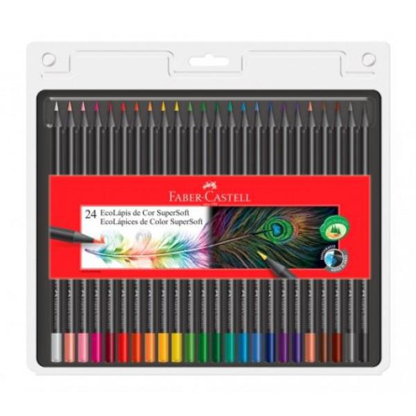 Lápis de Cor Faber-Castell Supersoft Com 24 Cores