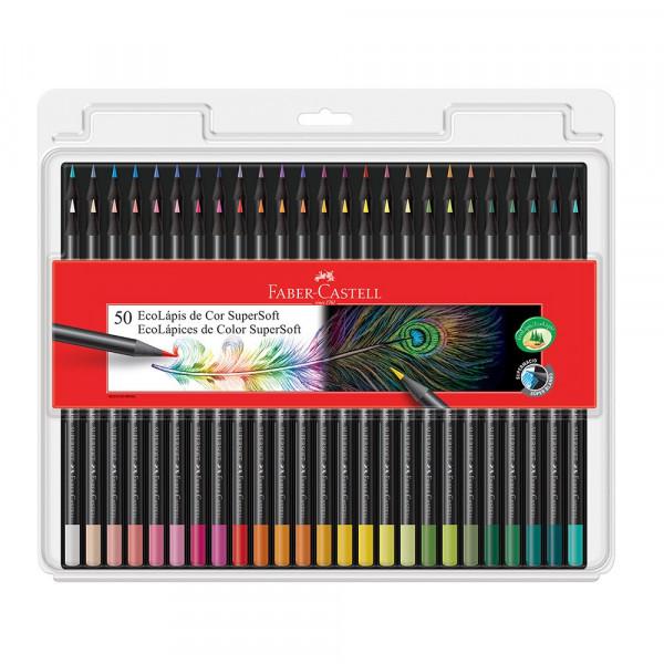 Lápis de Cor Faber-Castell Supersoft Com 50 Cores