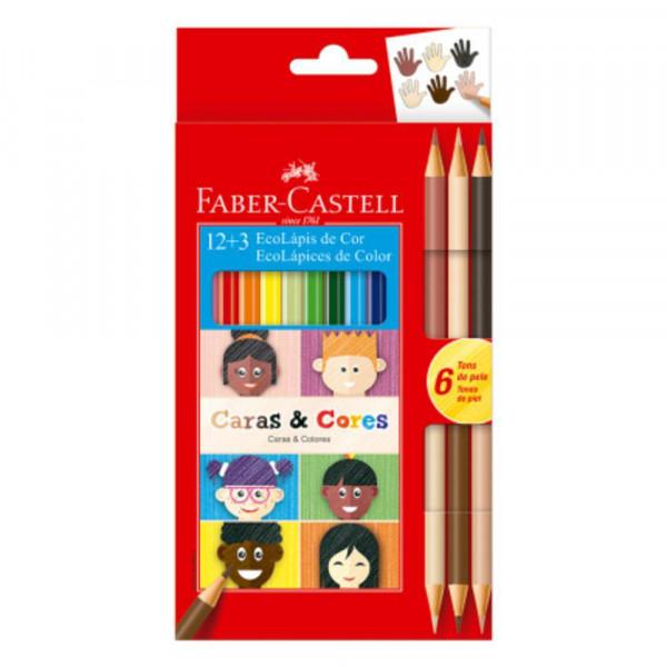 Lápis de Cor Faber Castell 12 Cores + 6 Tons de P...